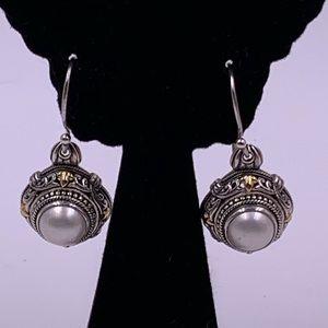 Sterling silver 18 karat gold pierced earrings